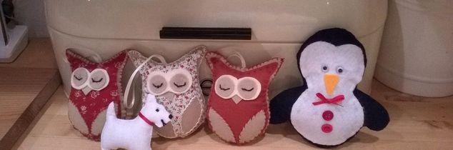 q felt animals, pets animals, Selection of handmade stitched felt animals
