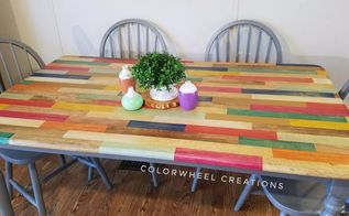 color block kitchen table, kitchen design, painted furniture