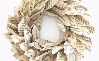 book page magnolia wreath, crafts, flowers, gardening, wreaths