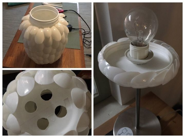Design your own plastic spoon lamp hometalk for Decorate your own lampshade