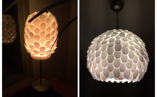 design your own plastic spoon lamp, home decor, lighting