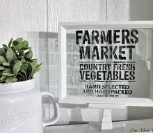 farmers market stenciled glass pedestal sign, crafts