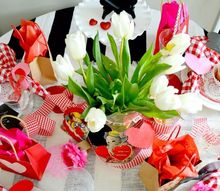 valentine tablescape diy table runner and napkin rings, painted furniture, seasonal holiday decor, valentines day ideas