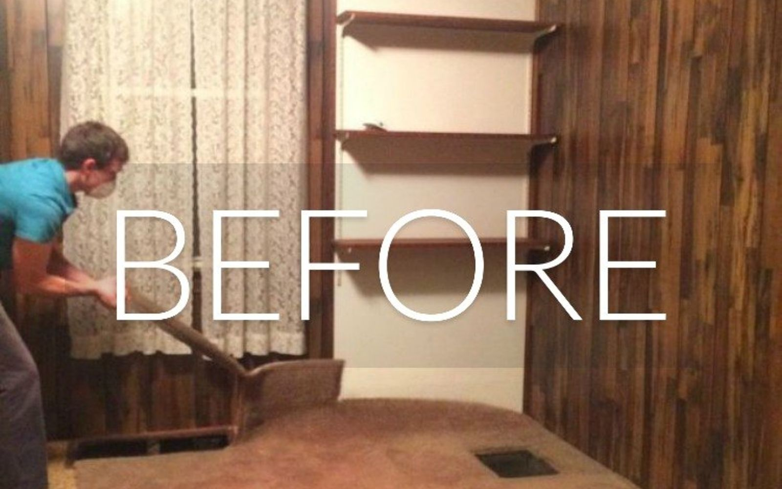 s 7 floor transformations that ll convince you to get rid of your carpet, flooring, reupholster, Before Yucky carpet in a dark room