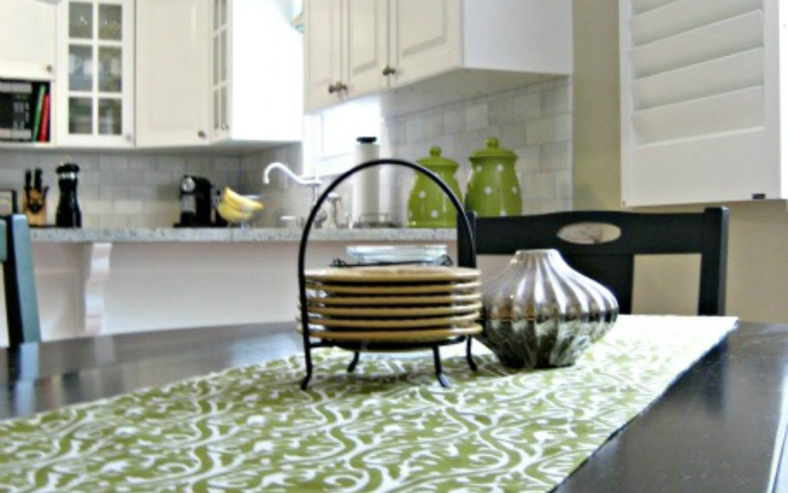 s 11 ways you never thought of using fabric in your kitchen, kitchen design, reupholster, As a no sew breakfast table runner