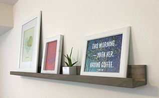 rustic picture ledges with homemade steel wool and vinegar stain, cleaning tips