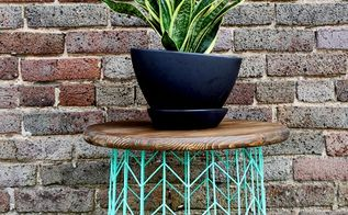 make this wire basket side table, crafts, painted furniture