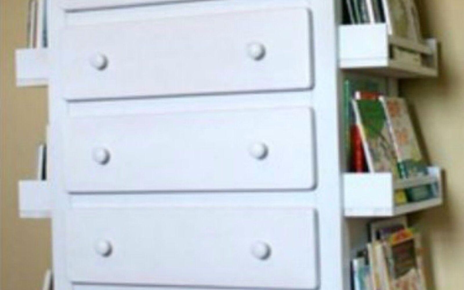 s stop everything these bookshelf redos are ah mazing, shelving ideas, storage ideas, Attach spice racks to a dresser as shelves
