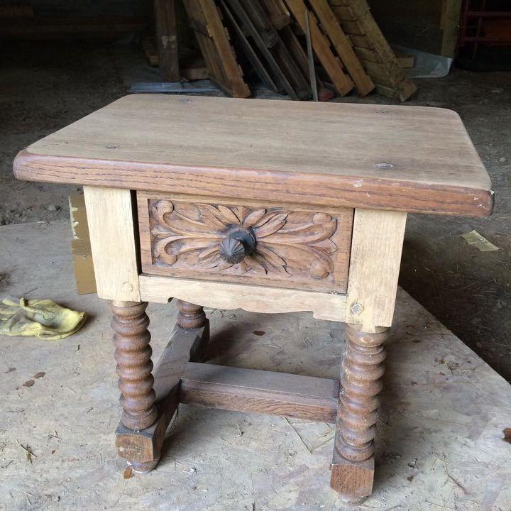 Oak Furniture Projects ~ Detailed oak accent table refinish hometalk