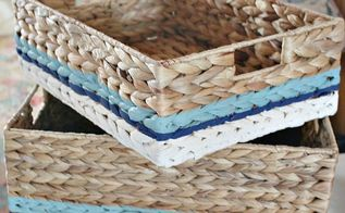 painting wicker baskets with a paintbrush, crafts, painted furniture