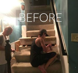 s say goodbye to your carpet stairs with these brilliant transformations, stairs, reupholster