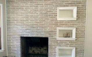 painted brick fireplace, concrete masonry, fireplaces mantels