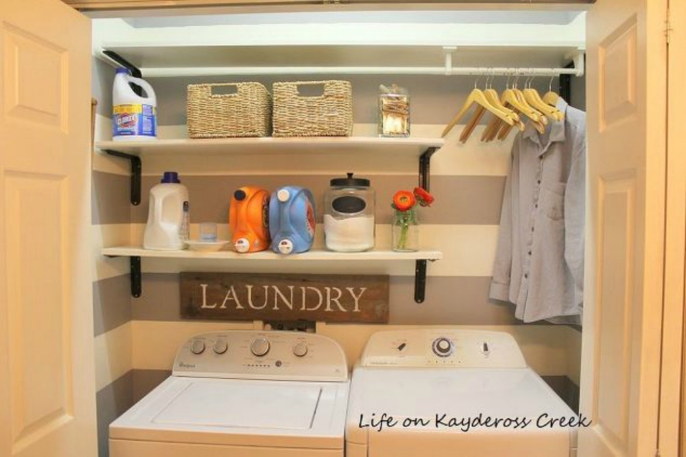 s 11 ways to update your dark and dingy laundry room for under 100, laundry rooms, Paint the walls with a pattern