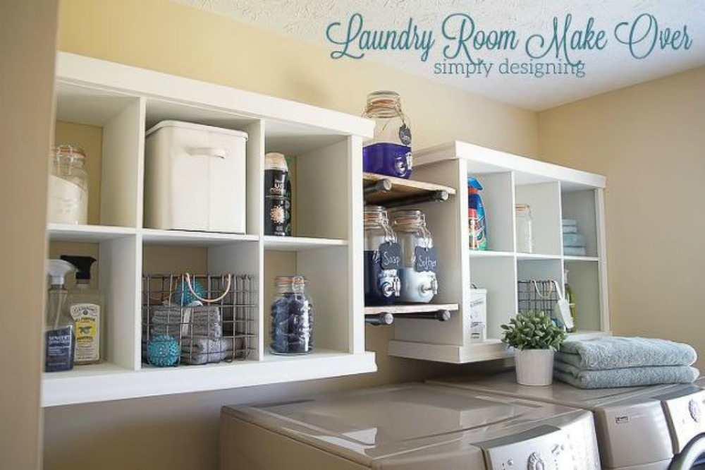 s 11 ways to update your dark and dingy laundry room for under 100, laundry rooms, Install some cube shelves and add trim