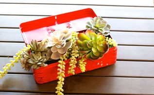 repurpose an old toolbox into a planter for succulents, flowers, gardening, succulents
