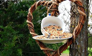 diy tea cup birdfeeder, outdoor living