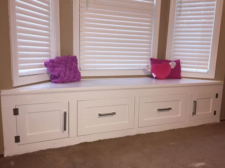 how to build a window seat with cabinets