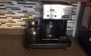 rolling coffee station for the kitchen counter, countertops, kitchen design, painted furniture, Then rolls back under my cabinet
