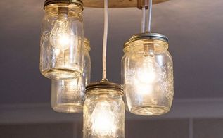 diy mason jar chandelier, lighting, mason jars