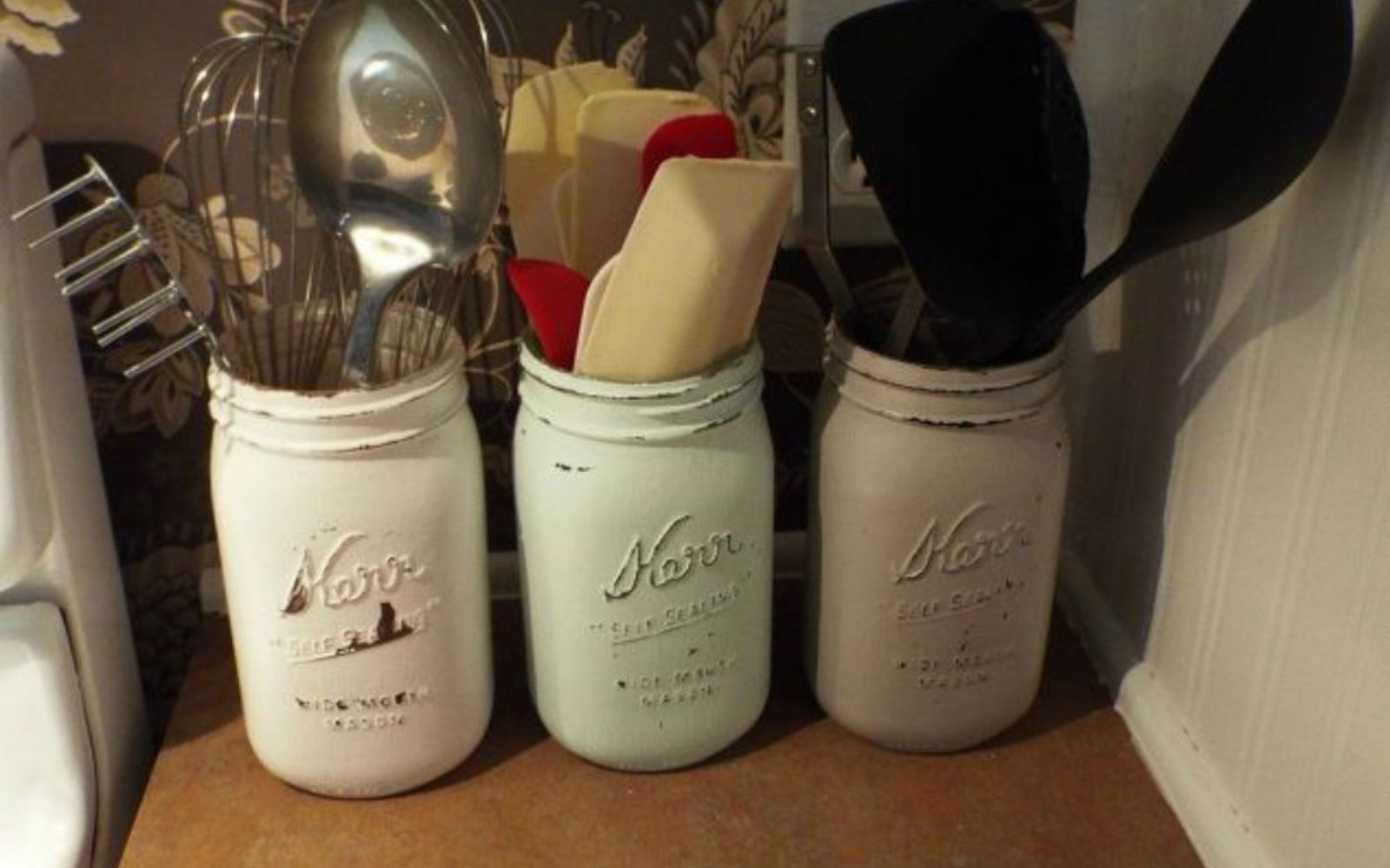 s get rid of kitchen countertop clutter with 13 clever mason jar ideas, countertops, kitchen design, mason jars, organizing, Collect your cutlery and cooking tools