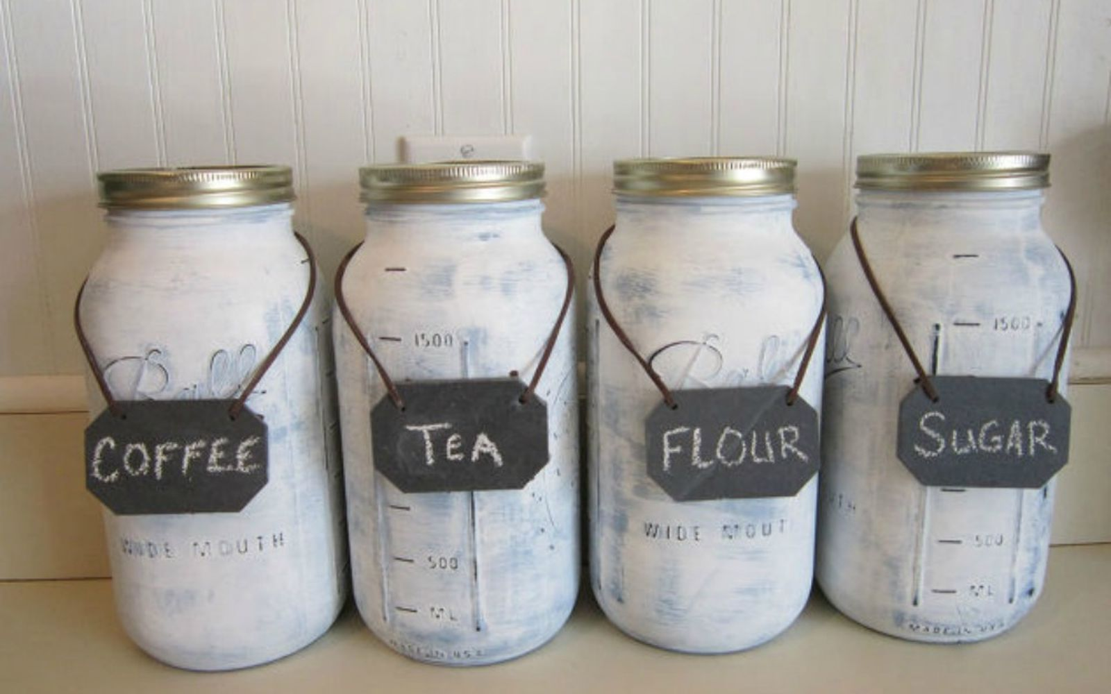 s get rid of kitchen countertop clutter with 13 clever mason jar ideas, countertops, kitchen design, mason jars, organizing, Make pretty containers for your coffee