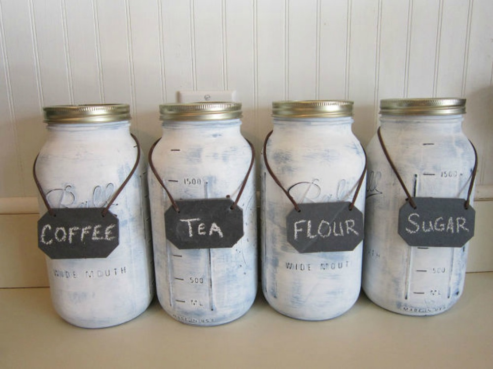 Get rid of kitchen countertop clutter with 13 clever mason for Kitchen jar decoration