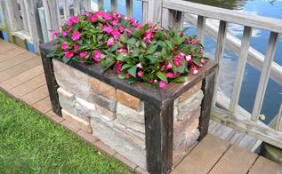 diy faux stone raised planter, concrete masonry, gardening