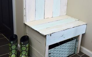 diy pallet wood entry bench with shoe storage, outdoor furniture, pallet, storage ideas