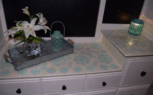 dresser with hutch make over and stenciled counter shelf, countertops, painted furniture, shelving ideas
