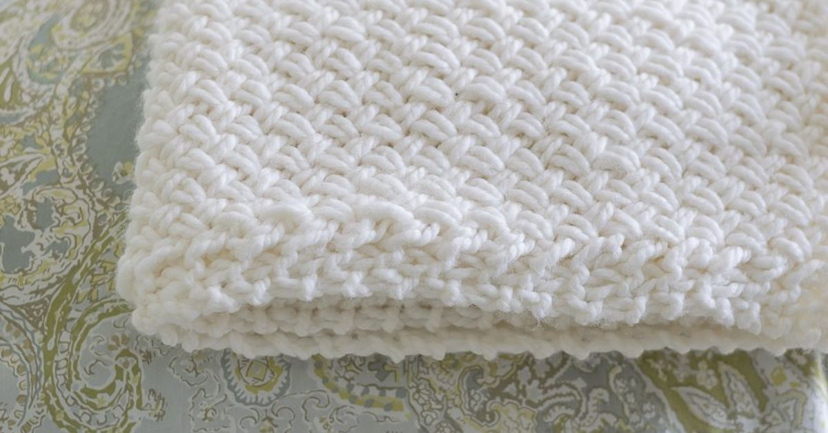 Diagonal Basketweave Knitting Pattern In The Round : Knit a Diagonal Basket Weave Blanket Hometalk