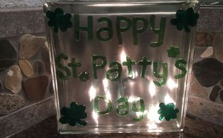 plain glass block to glowing st patrick s day decor 2 options, home decor, seasonal holiday decor, valentines day ideas
