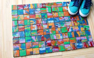 colorful scrap wood rug, reupholster