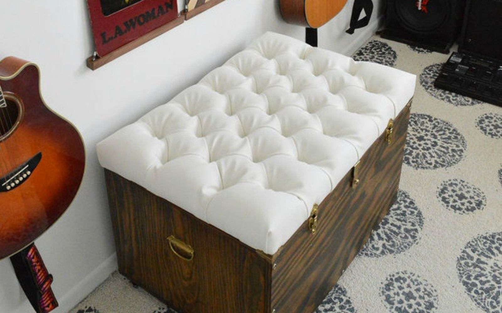 s 12 gorgeous ottoman ideas that will make you want to put your feet up, painted furniture, Create a tufted ottoman chest seat