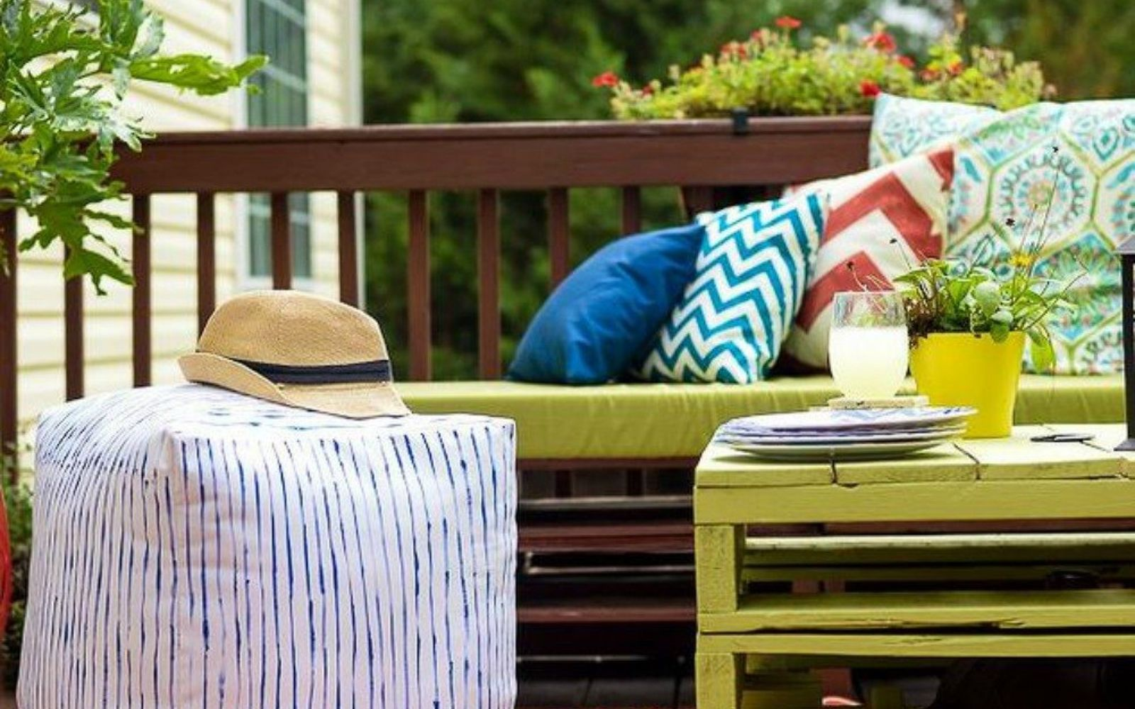 s 12 gorgeous ottoman ideas that will make you want to put your feet up, painted furniture, Pick your favorite fabric and fill it