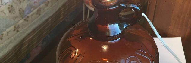 q antique glass clorox bottle, repurposing upcycling