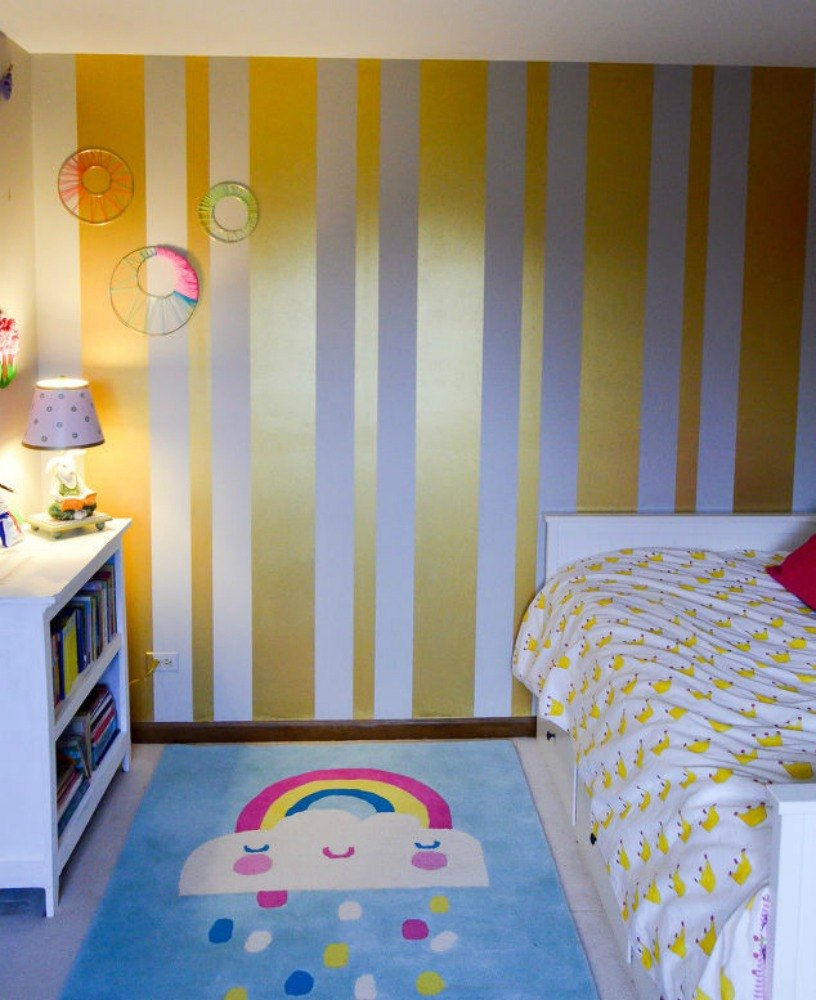 stripe your walls with gold paint