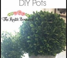 easy whitewashed stenciled and faux concrete diy pots, concrete masonry