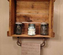 industrial meets primitive iron pipe towel bar crate shelf, outdoor living, plumbing, shelving ideas