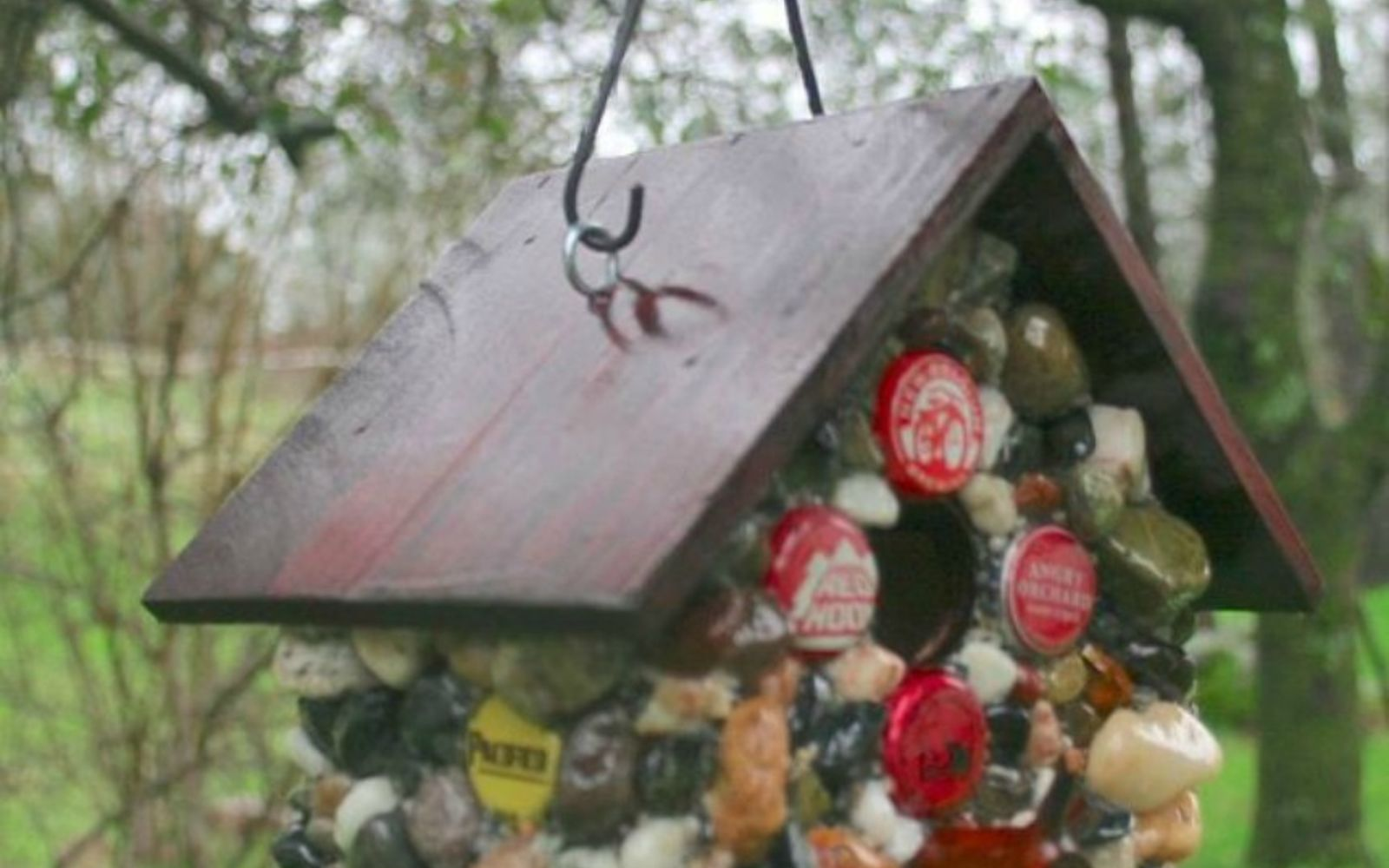 s 11 impressive ways to update your home with stone, concrete masonry, home decor, Decorate a cute birdhouse with them