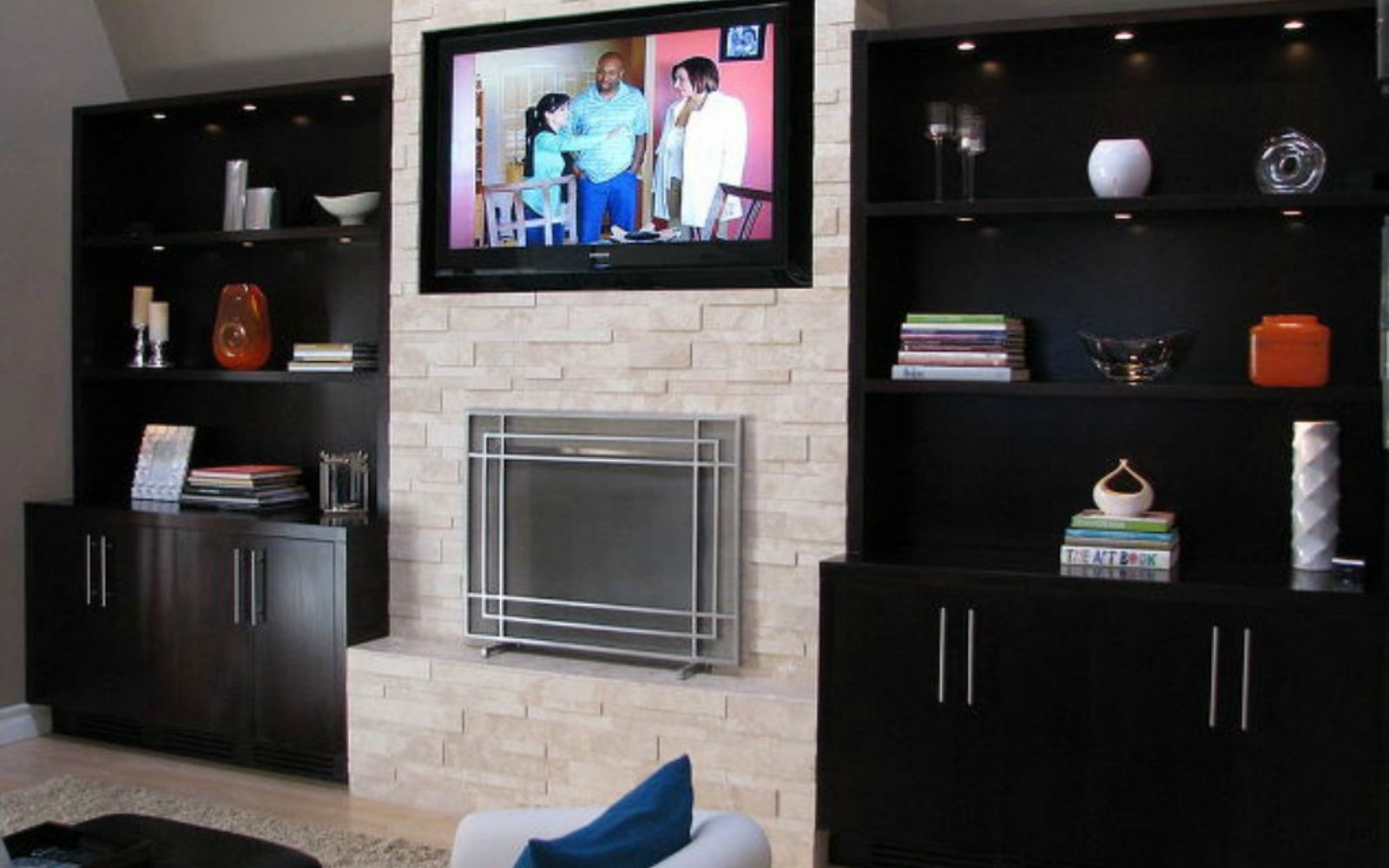 s 11 impressive ways to update your home with stone, concrete masonry, home decor, Turn your fireplace into a modern center