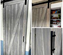 diy shiplap barn door for a galley kitchen pantry, closet, doors, kitchen design, outdoor living