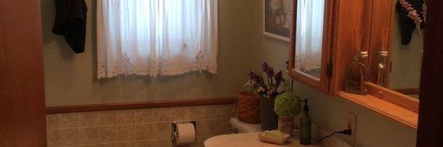 q how high do i go with bead board in small bathroom, bathroom ideas