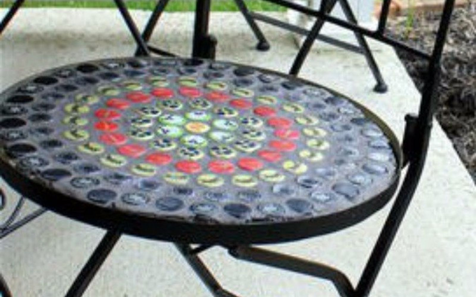 s save your bottle caps for these x crazy cool ideas, A rad mosaic metal patio chair