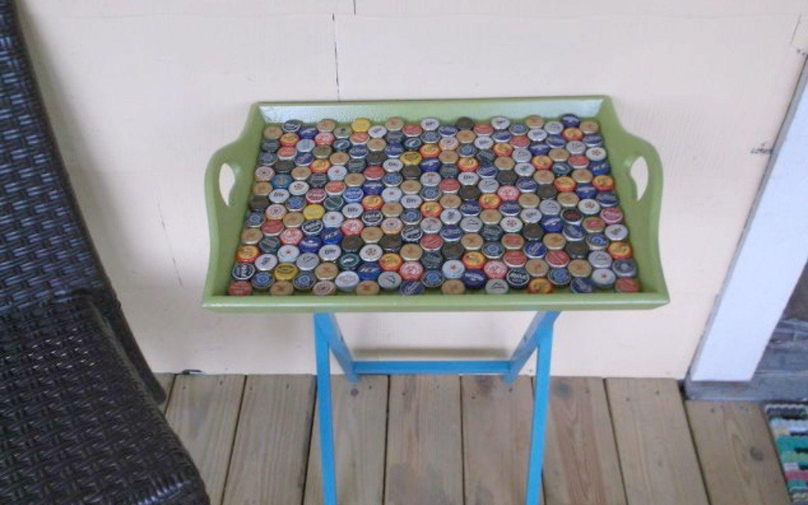 bottle cap furniture. a serving table for your porch bottle cap furniture