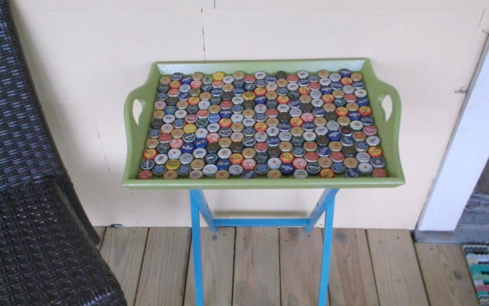 s save your bottle caps for these x crazy cool ideas, A serving table for your porch