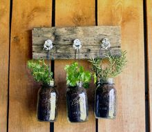 mason jar herb planter, gardening, mason jars
