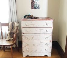stenciled bird dresser, painted furniture
