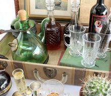 lookbook vintage suitcase mini bar, outdoor living