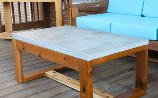 diy concrete top coffee table, concrete masonry, painted furniture