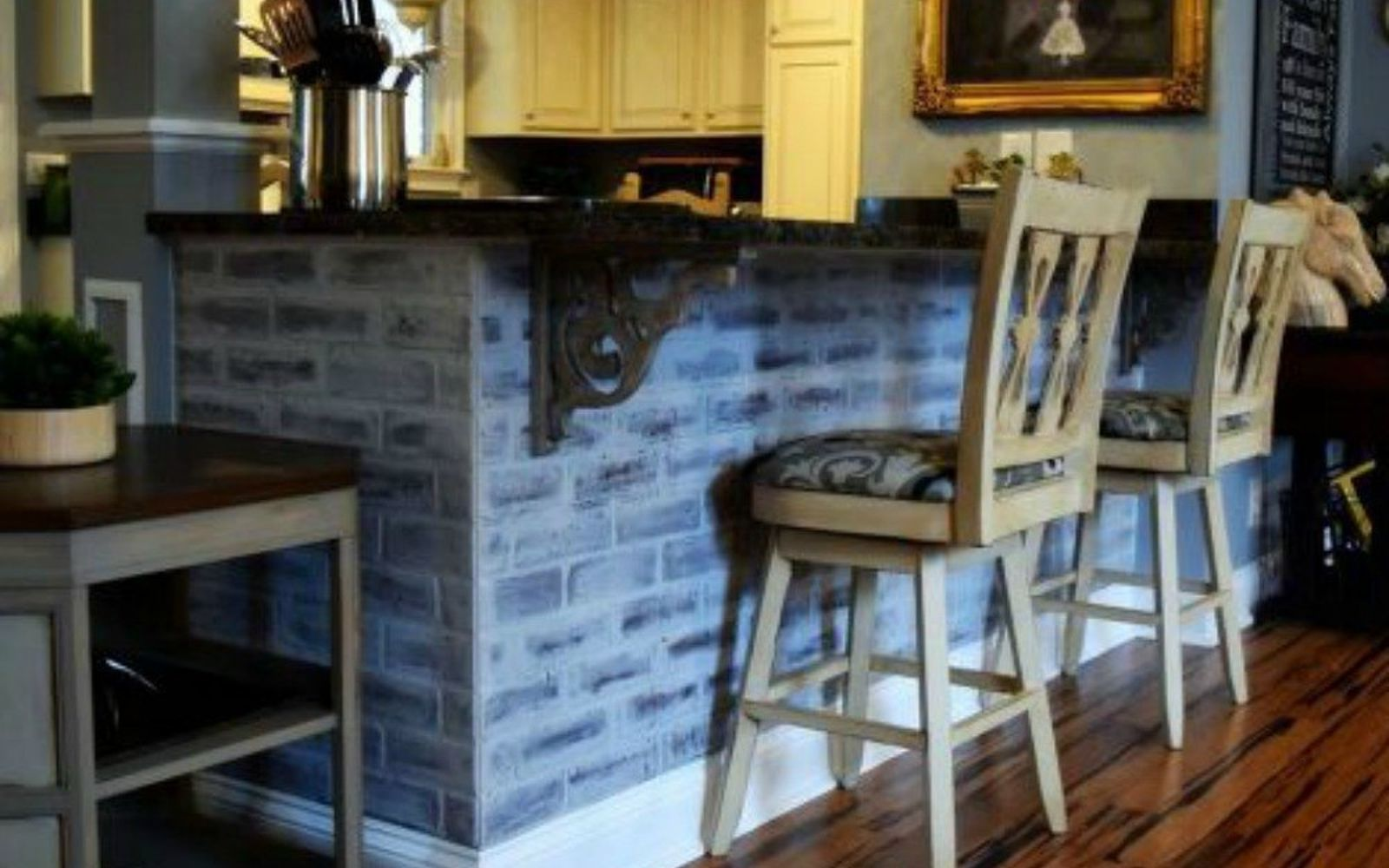 s 12 stunning ways to get that exposed brick look in your home, Redo your kitchen island in faux panels